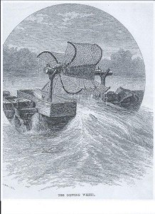 This sketch of a fish wheel (or dipping wheel) was involved in a lawsuit in which it was discovered that a similar wheel was said to be the first invented in America and credited to two Richmond County brothers. Bill Trout was looking for evidence of such a mechanism being used on the Pee Dee River.