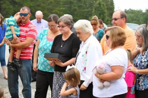 Kevin Spradlin | PeeDeePost.com Family members of the late Ray Robbins Jr. gather in front the Hoffman Fire and Rescue Marston station for the unveiling of the monument in Robbins' memory.