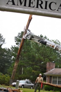 Kevin Spradlin | PeeDeePost.com A 40-foot utility pole at Ledbetter and American Legion roads broke in two when a large oak tree snapped early Monday morning.