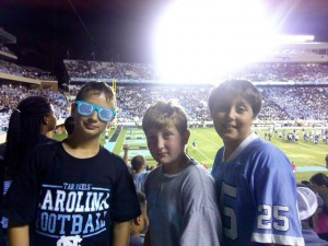 Submitted photo Academic All-Star Braxton Butler, left, is a fifth-grader at Monroe Avenue Elementary School. He attended the game with friends Clayton Currie and Ethan Burdock.