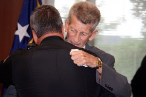 Kevin Spradlin | PeeDeePost.com Sam Jarrell, a retired major with the Richmond County Sheriff's Office, was honored Wednesday with the Order of the Long Leaf Pine, North Carolina's highest civilian award for public service.