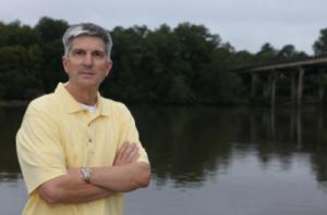 Sen. Gene McLaurin stands along the Yadkin-Pee Dee River.