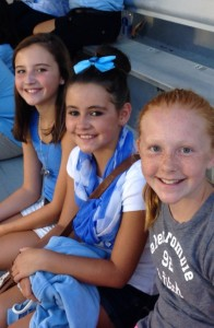 Submitted photo Brian Kendall attended the Academic All star game with his Academic All star stepdaughter, Savanna Harrelson (left) along with her two friends Kayleigh Fields, center, and Macy Faw  They are all sixth-graders at Rockingham Middle School.