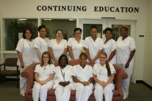 An NETC photo Pictured are the Nursing Assistant students who graduated Northeastern Technical College's certificate program on October 6.  They are, front row, from left, Amy McIntyre, Tina Sutton, Morgan Springle, and Kimberly Hinson; back row, from left, Miranda Bailey, Elata Lockhart, Cynthia Griggs, Jessica Locklear, Briana Ingram, Cynthia Wilkins and Angela Brown.  Not pictured: Jarica Leviner