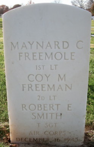 An image of the grave marker at Jefferson Barracks National Cemetery for 2nd Lt. Coy Freeman, of Hamlet, and two fellow service members who were killed with Freeman on Dec. 16, 1943, when their B-17 bomber was shot down by German fighters.