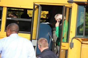 Kevin Spradlin | PeeDeePost.com Richmond Senior High School Principal Keith McKenzie is on scene of a minor bus accident Thursday afternoon in downtown Rockingham.