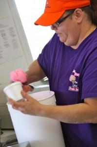 Kevin Spradlin | PeeDeePost.com Robin Maples dips some special pink vanilla ice cream for a customer.