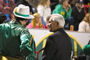 Kevin Spradlin | PeeDeePost.com S.L. Starcher, right, was Raiders band director from 1973 through 1976 and traveled from Florida to attend Friday night's band Alumni Night.