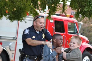 Kevin Spradlin | PeeDeePost.com Local law enforcement officers interacted with area youth in a positive environment on Tuesday during National Night Out.
