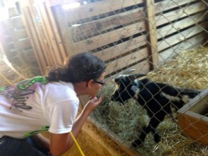 Kevin Spradlin | PeeDeePost.com DeLani Reep, of Hamlet, has the attention of a pygmy goat inside the animal barn at the 57th annual Richmond County Agricultural Fair.