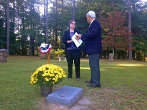 Kevin Spradlin | PeeDeePost.com Dr. Jerry McGee, right, talks with Nancy Sherrill Robbins by the gravesite of his late wife, Hannah Covington McGee.