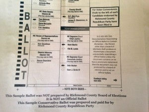This image shows a portion of a sample ballot modified by the Richmond County Republican Party with the legally mandated disclaimers.