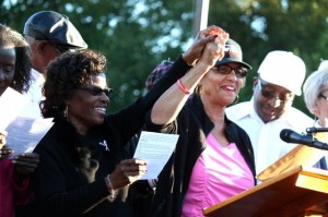 Kevin Spradlin | PeeDeePost.com Rev. Dian Griffin Jackson, left, stands on stage at Cole Plaza trying to ignite voters to head to the polls beginning Thursday at 9 a.m.