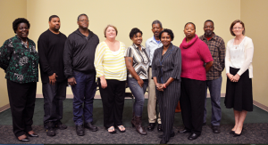 RCC Small Business Center Director Deborah Hardison, left, stands with participants of the NC REAL Business Plan Series, from left to right, Kamus McNair, Kevin Wall, Suzy Boros, Tenisha Covington, Arthur Lockhart, Linda Ross, Barbara Moton and David Wall. Also attending the certificate ceremony was Merrielle Buckner, right, of the Small Business Center.