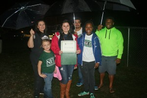 An NETC photo Volunteers from Northeastern Technical College awarded Alana Melton of Chesterfield with a $300 scholarship to NETC at Chesterfield High School's homecoming game October 3.  Shown are, from left to right are Tamila Short, Brooklyn Short, Alana Melton, Phillip Hubbard, Shereece Hooks and James Johnson.
