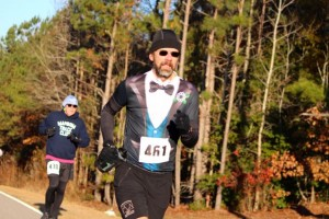 Kevin Spradlin | PeeDeePost.com Tony Rouse was dressed for a formal occasion in completing his 12th Derby 50K. He is the only person to have finished each Derby 50K event.