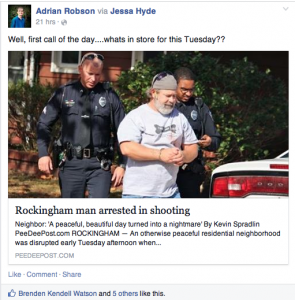 This screen shot of Adrian Robson's Facebook page shows what he shared and his comment early Tuesday afternoon.
