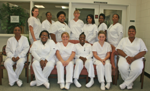 Submitted photo Pictured are the Nursing Assistant students who graduated Northeastern Technical College's certificate program on November 24.  They are, front row, from left, Toshiba Bostic, Dijaonna McBride, Alana Chapman, Trenequa Sinclair, Stephanie Hurst and Courtney Thomas; back row, from left, Casey Stephans, Charlene Coachman, Rametria Williams, Ashley Cooper, Denita McManus, Erika Kollock, and Felecia Moore.