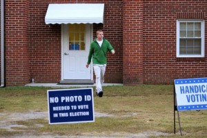 Kevin Spradlin | PeeDeePost.com Chris Larsen, a teacher at Richmond Early College, leaves the Roberdell United Methodist Church fellowship hall after casting his ballot..