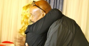 Kevin Spradlin | PeeDeePost.com Sheriff James Clemmons Jr. embraces Vickie Daniel. Clemmons retains his seat and Daniel ran unopposed in the general election and will continue as Richmond County Clerk of Court.