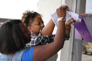 Kevin Spradlin | PeeDeePost.com Jamila Harrison and Britany Jones, both of Rockingham, submitted their applications Thursday to work at Little Caesars pizza shop.