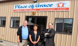 Kevin Spradlin | PeeDeePost.com Pastor Sonny Diggs, left, Dianne Raines, outreach coordinator for Place of Grace, and Pastor Gary Richardson.