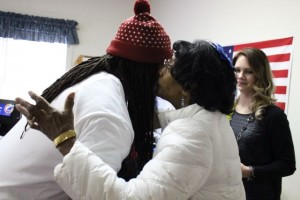 Kevin Spradlin | PeeDeePost.com Hugs, smiles and a kiss or two greeted former Raider Dannell Ellerbe.