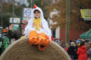 Photo by Kevin Spradlin This parade participant gets a bird's-eye view of the spectators lines along both sides of Main Street in Ellerbe.