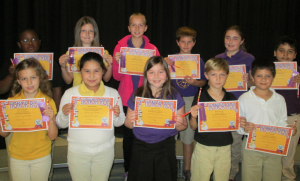 Submitted photo Mineral Springs 3rd-5th grade students making the A Honor Roll for the first nine weeks grading period were, front row from left, Alissa Whitlock, Zonia Contreras Gonzalez, Caroline Hunsucker, Ayden Mabe and Ethan Locklear. Second row from left, Diezel Green, Ashlyn Bouldin, Haylee Johnson, Dexter Mabe, Hayley McCormick and Giovani Gomez-Orozco.