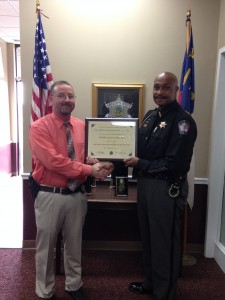 Submitted photo Detective J.R. Smith, left, and Richmond County Sheriff James E. Clemmons Jr.