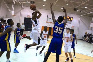 Kevin Spradlin | PeeDeePost.com Malik Stanback soars through the defense en route to another two points.