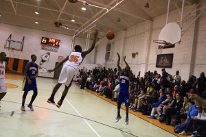 Kevin Spradlin   PeeDeePost.com D.J. Stephens blocks a 3-point attempt by Antonio Smith shortly after the Rockets took the lead for good on a 3-pointer by Cameron Caraway.