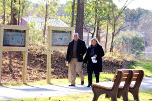 Kevin Spradlin | PeeDeePost.com Dr. Dale McInnis, Richmond Community College president, and his wife Thomasa walk along the Mary Ellen Kindley Fitness Trail.