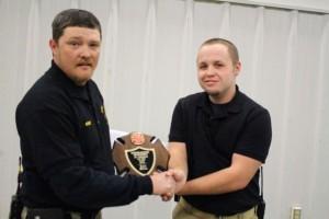 Kevin Spradlin | PeeDeePost.com Dalton Millen accepts the Junior Fireman of the Year award from Northside Volunteer Fire Department Chief Edward Causey.