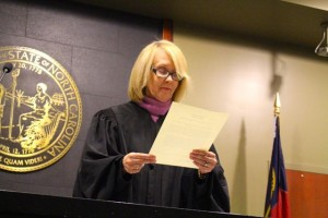 Kevin Spradlin | PeeDeePost.com Senior Resident Superior Court Judge Tanya Wallace reads the oath of office for Richmond County Clerk of Superior Court Vickie Daniel.