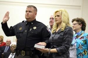 Kevin Spradlin | PeeDeePost.com Mark Gulled is sworn is as chief deputy for the Richmond County Sheriff's Office.