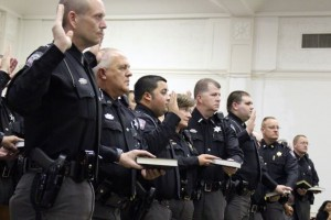 Kevin Spradlin | PeeDeePost.com Personnel with the Richmond County Sheriff's Office took their oath of office Monday afternoon, shortly after Sheriff James Clemmons Jr. was sworn in for a second term.