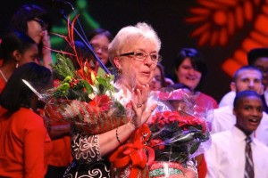 Kevin Spradlin | PeeDeePost.com Debbie Price was given flowers and a special number by her students to send her into retirement, which begins Friday at about 3 p.m.