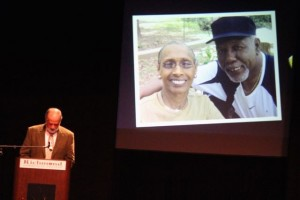 Kevin Spradlin | PeeDeePost.com Macie McQueen, seen on the projected image with Dr. Fred McQueen, stood tall over the audience Thursday night at the 32nd annual Meeting and Recognition Night coordinated by the Richmond County Chamber of Commerce as Rev. Dwight Williams gives the invocation.