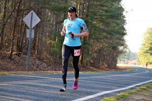 Photo by Kevin Spradlin Kelly Bruno, 29, of Durham, chased down Mary Edgmon, 29, of Raeford, in the final six miles to win women's title in the 23rd annual Ellerbe Marathon in March 2014 in 3 hours, 43 minutes and 3 seconds. Chuck Engle, 43, of Arlington, Va., won the overall title in a course-record time of 2:53:35.