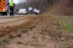 Kevin Spradlin | PeeDeePost.com Judging from the tire tracks, the truck traveled a couple of hundred feet off the roadway before hitting an embankment and rolling over.