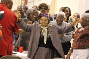 Kevin Spradlin | PeeDeePost.com A little thing like being 100 years old didn't stop A.B. Little from dancing when recognized by Master of Ceremonies Bruce Stanback.