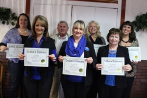 Kevin Spradlin | PeeDeePost.com Million dollar producers in 2014 recognized Wednesday include (from left to right) Amber Moss, Kelli Gillis, Gerald Witherspoon, Tammy Culler, Wendy R. Massagee, Faye Melton and Jami Smart.