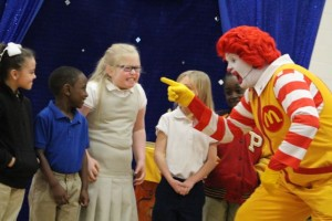 Kevin Spradlin | PeeDeePost.com Ronald McDonald has students display what they believe a bully looks like.
