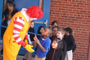 Kevin Spradlin | PeeDeePost.com Ronald McDonald was available for high-fives and hugs after the performance.