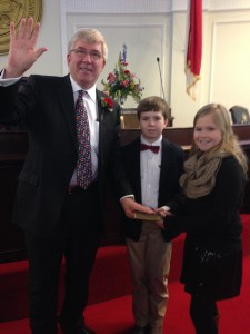 Submitted photo Sen. Tom McInnis poses for a photo with his grandchildren, Will and Olivia.