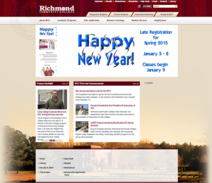 An image of the old RCC website shows a largely static page that was administration-focused instead of centered on the experience sought by website visitors.