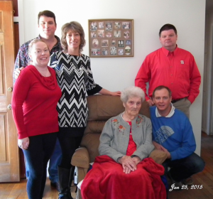 Submitted photo Dovie with grandchildren Scott Cloer of Hillsboro, Betty McIntyre of Rockingham, Tanya Connor of Aberdeen, Timmy Brown of Randleman, and Chris Wood of Randleman.