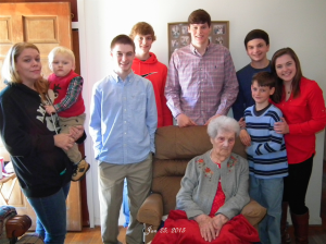 Submitted photo Former Ellerbe resident Dovie Jane Mabe Connor, seated, sits for a photo with her great-grandchildren: Tanner Wood, Landon Brown, Cassidy Brown, Garrett Cloer, Graham Cloer and Coleman Cloer;   Nicole Wilson and great, great grandson JR Wilson.