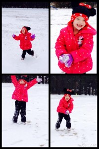 Chasey Brown snapped young Cayleigh enjoying the first snow day of 2015 in Hamlet.